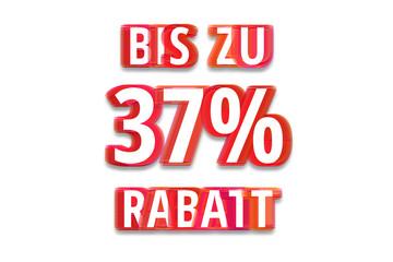 bis zu 37% Rabatt - weißer Hintergrund rote Schrift für Symbol / Schild