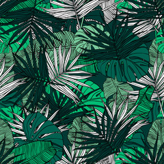 Wall Murals Botanical Tropical seamless pattern. Hand drawn illustration with foliage of tropical plants. Texture with banana leaves, palm and monstera. Summer vector design.
