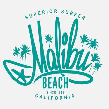 Malibu surf typography, vector t-shirt print design