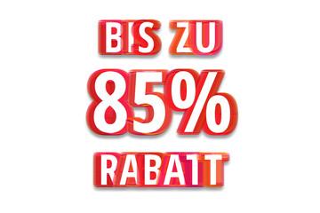 bis zu 85% Rabatt - weißer Hintergrund rote Schrift für Symbol / Schild