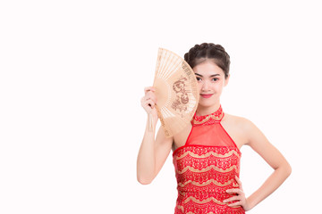 Portrait charming beautiful asia woman: Attractive young girl is holding a fan. Gorgeous lady has nice smile and look happy, healthy. Glamour female has nice skin and body, isolated, white background