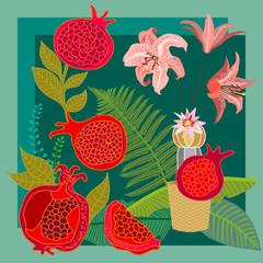 Subtropical garden.  Vintage textile collection.