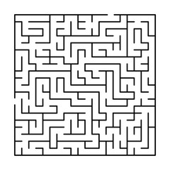 Black and white simple maze puzzle, vector