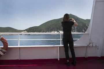 Woman on a ferry boat
