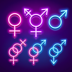 Various gender identities and sexualities, neon glowing icons, vector illustration