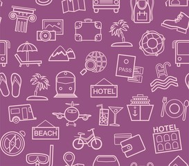 Travel, vacation, tourism, vacation, seamless pattern, outline, purple, color, vector. Different types of holidays and ways of travelling. Vector, color background.