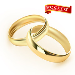 Wedding rings set of gold metal on white background isolated vector illustration