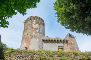 Nepi in Lazio, Italy. Borgia Castle, a 15th-century reconstruction of a feudal manor. It has massive walls and four towers