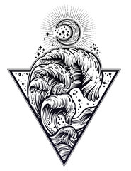 Hand drawn water waves in the night stormy sea triangle art drawing.