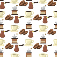 Coffee cups seamless pattern background food drink design restaurant vector illustration.