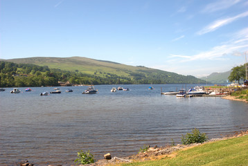 looking up Loch Tay at Kenmore in Scotland