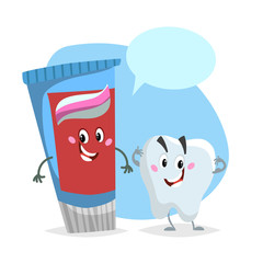 Cartoon dental care characters. Smiling healthy strong tooth and blue toothpaste tube. Healthcare kid vector illustration with dummy speech bubble.