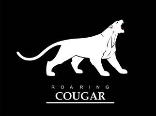Fearless cougar. Roaring puma. Roaring jaguar. Elegant white panther.