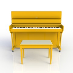 Front view of classic musical instrument yellow piano isolated on white background, Keyboard instrument, 3d rendering