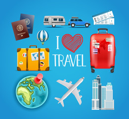 Travel accessories collection. Vector illustration