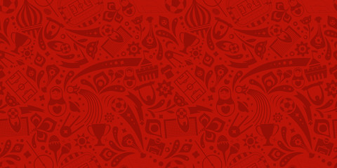 Red soccer championship seamless trendy pattern. Vector ornament