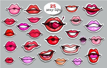 25 Red lips sticker collection. Illustration isolated on grey background. Patches set. Banner.Fashion patch badges elements. Set of stickers, pins, patches in cartoon 80s-90s comics retro style.