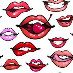 Female sexy lips seamless pattern fashion print. Mouth with cherry pepper biting, smile, tongue, teeth on white bakground