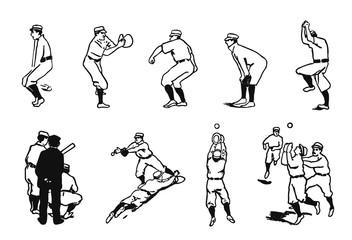 Baseball Player Set #vector #isolated - Baseball Spieler Set