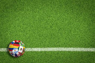 Fußball auf Rasen / Spielfeld mit Länderflaggen