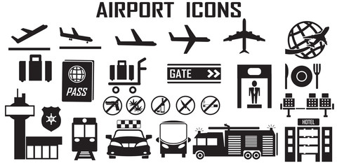airport icon vector travel airplane.