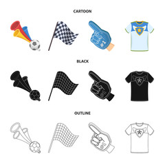Pipe, uniform and other attributes of the fans.Fans set collection icons in cartoon,black,outline style vector symbol stock illustration web.