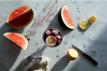 Tinto de verano and watermelon