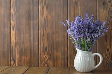 Bouquet of fresh lavender in a jar