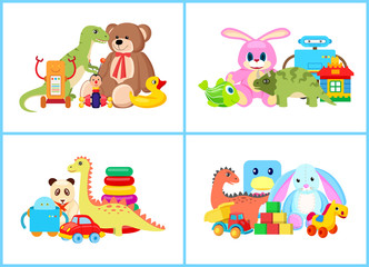 Toys for Children Collection Vector Illustration