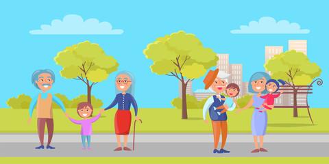 Happy Grandparent Senior Couple with Grandchildren