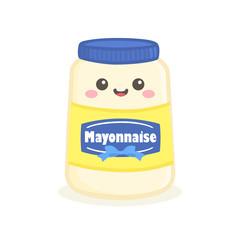Cute Mayonnaise Mayo Sauce Bottle Jar Vector Illustration Cartoon Smile