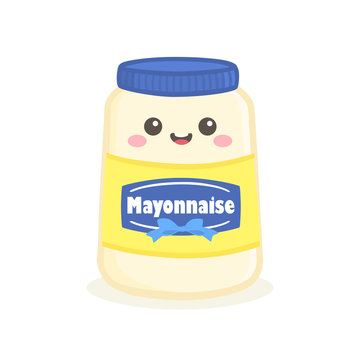 Cute Mayonnaise Mayo Sauce Bottle Jar Vector Illustration Cartoon Smile