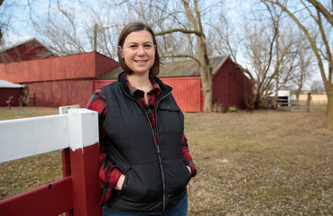 Democratic candidate for Michigan's 8th Congressional District Elissa Slotkin, a former Defense Department official and intelligence analyst, poses for a picture on her family farm in Holly, Michigan