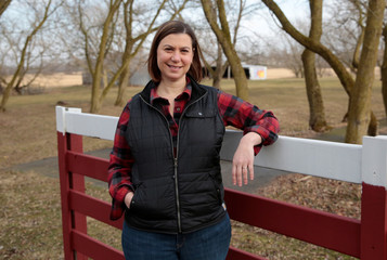 Democratic candidate for Michigan's 8th Congressional District Elissa Slotkin, a former Defense Department official and intelligence analyst, poses for a picture on her family farm in Holly, Michigan,