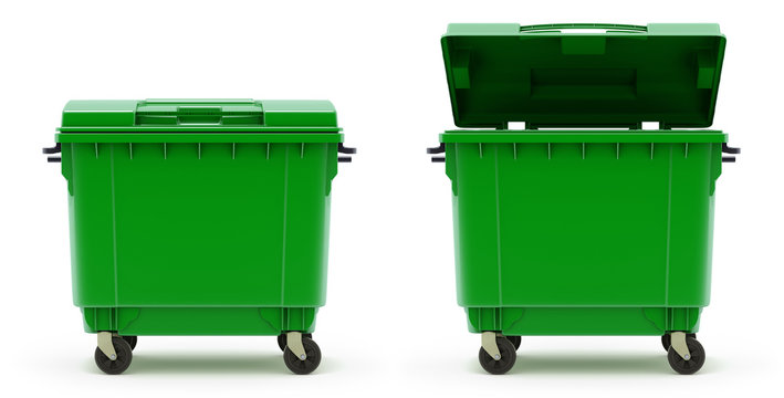 Open and closed green garbage container