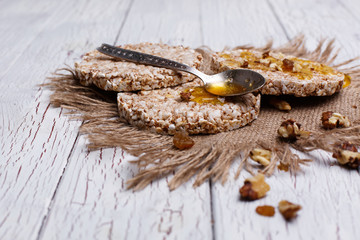 Good nutrition. Rice cookies with honey and nuts