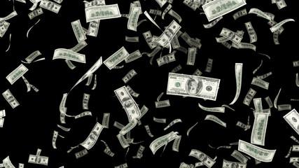3D render Falling hundred dollar on an alpha chanel
