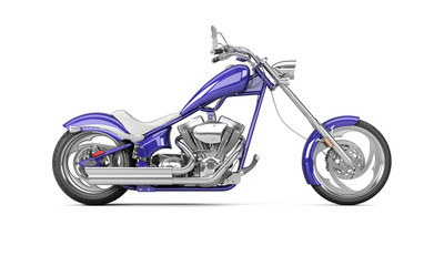 3D render biker motorcycle on a white background