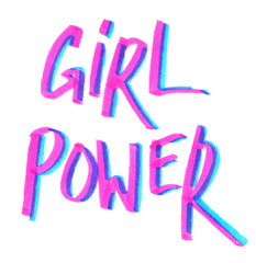 "Quote ""Girl power"" hand written in bright pink and blue highlighter felt tip pen on clean white background"