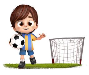 niño con porteria de futbol