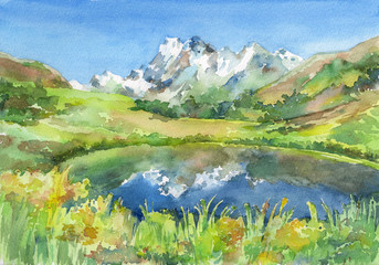 Panoramic view of idyllic mountains in the Alps with fresh green meadows in bloom, lake and flowers on the foreground. Watercolor hand drawn illustration.