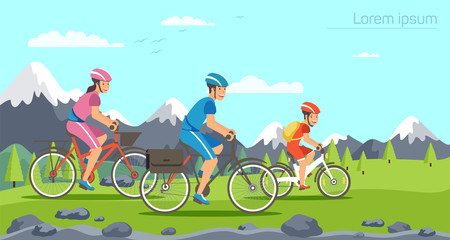 Cartoon family riding on bicycles. Mountains