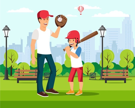 Happy cartoon father plays baseball with son