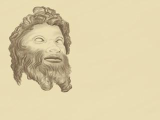 Retro image of a satyr. Sketch on canvas.