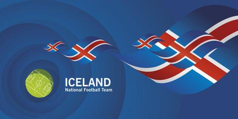 Iceland flag soccer football team abstact stadium background