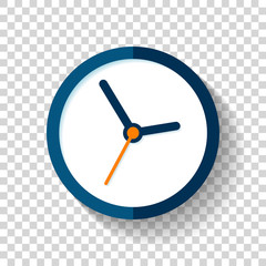 Clock icon in flat style, round timer on on transparent background. Simple business watch. Vector design element for you project
