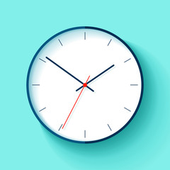 Clock icon in flat style, round timer on blue background. Simple business watch. Vector design element for you project