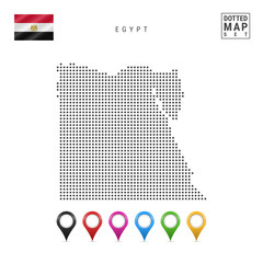Vector Dotted Map of Egypt. Simple Silhouette of Egypt. The National Flag of Egypt. Set of Multicolored Map Markers