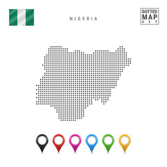 Vector Dotted Map of Nigeria. Simple Silhouette of Nigeria. National Flag of Nigeria. Set of Multicolored Map Markers
