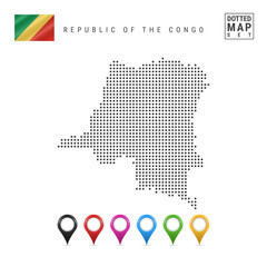 Vector Dotted Map of Republic of the Congo. Simple Silhouette of Republic of the Congo. Republic of the Congo Flag